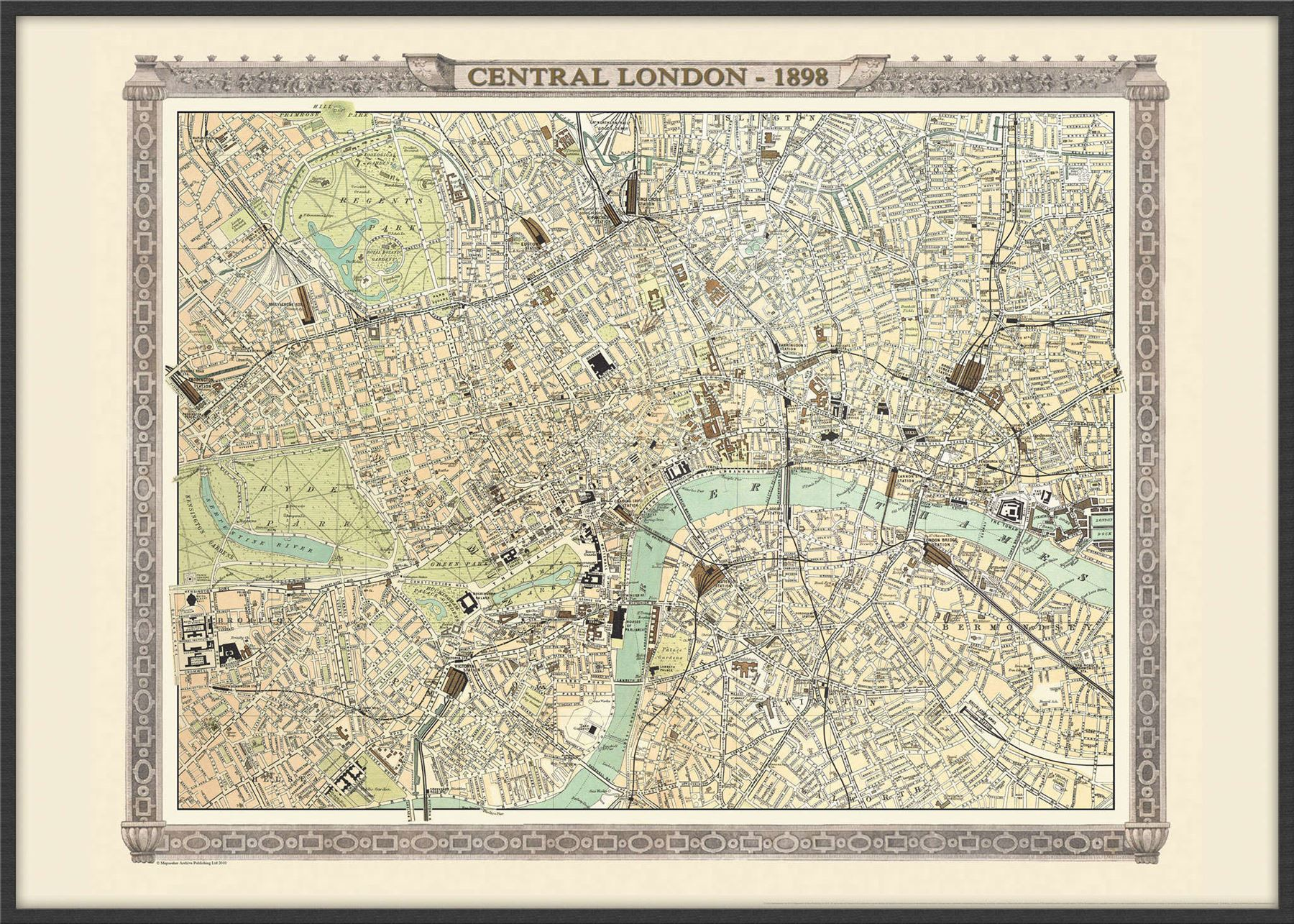 Vintage london map from the royal atlas 1898 poster with size vintage london map from the royal atlas 1898 gumiabroncs Gallery