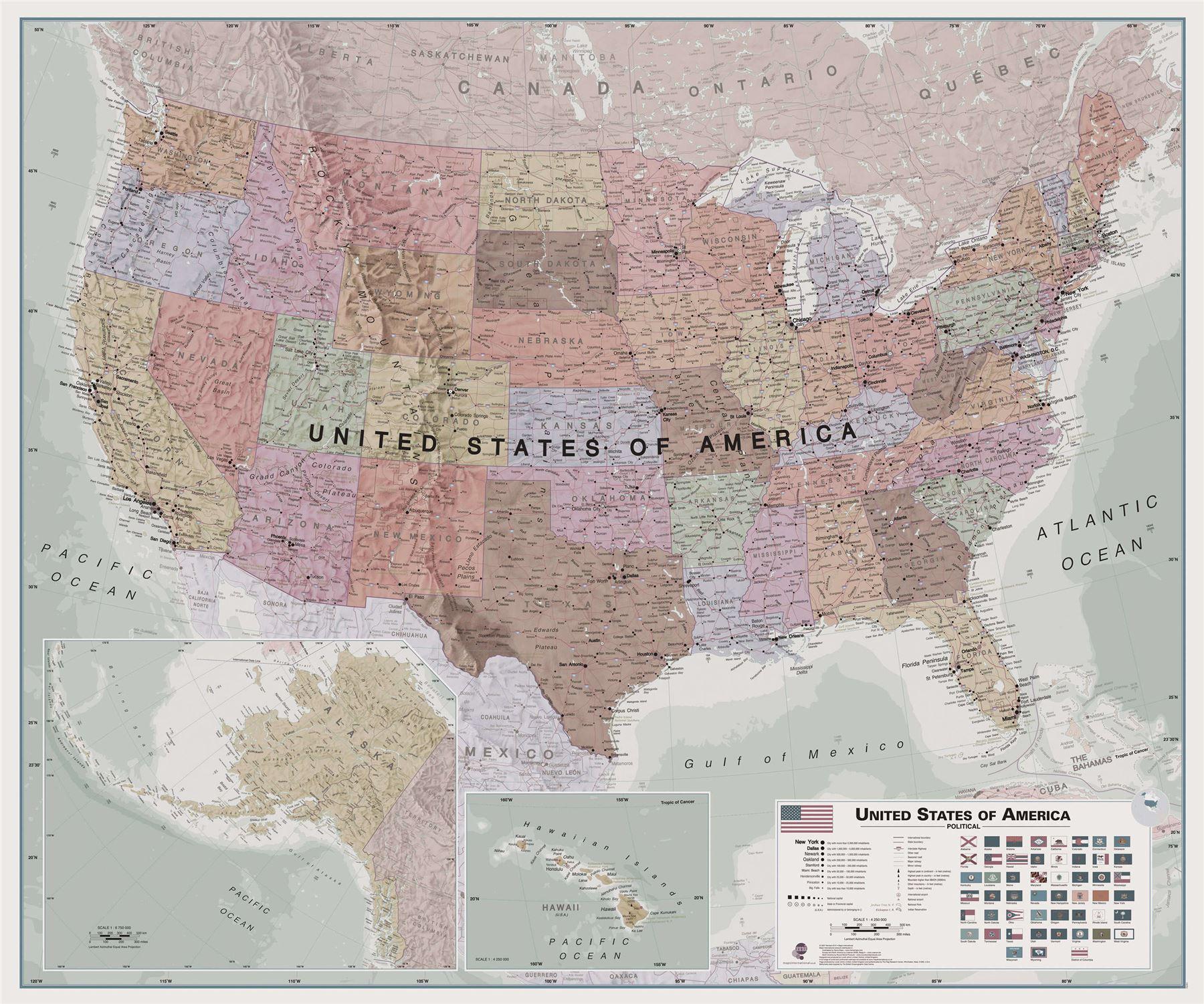 Exekutive US Wandkarte Plakat Geographisch - Rollo, Acryl ...
