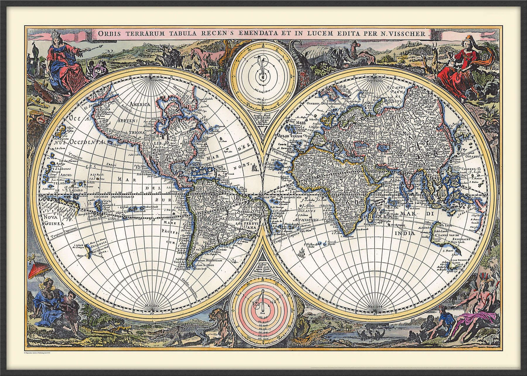 Vintage Double Hemisphere World Map 1700 Poster with Size & Finish ...