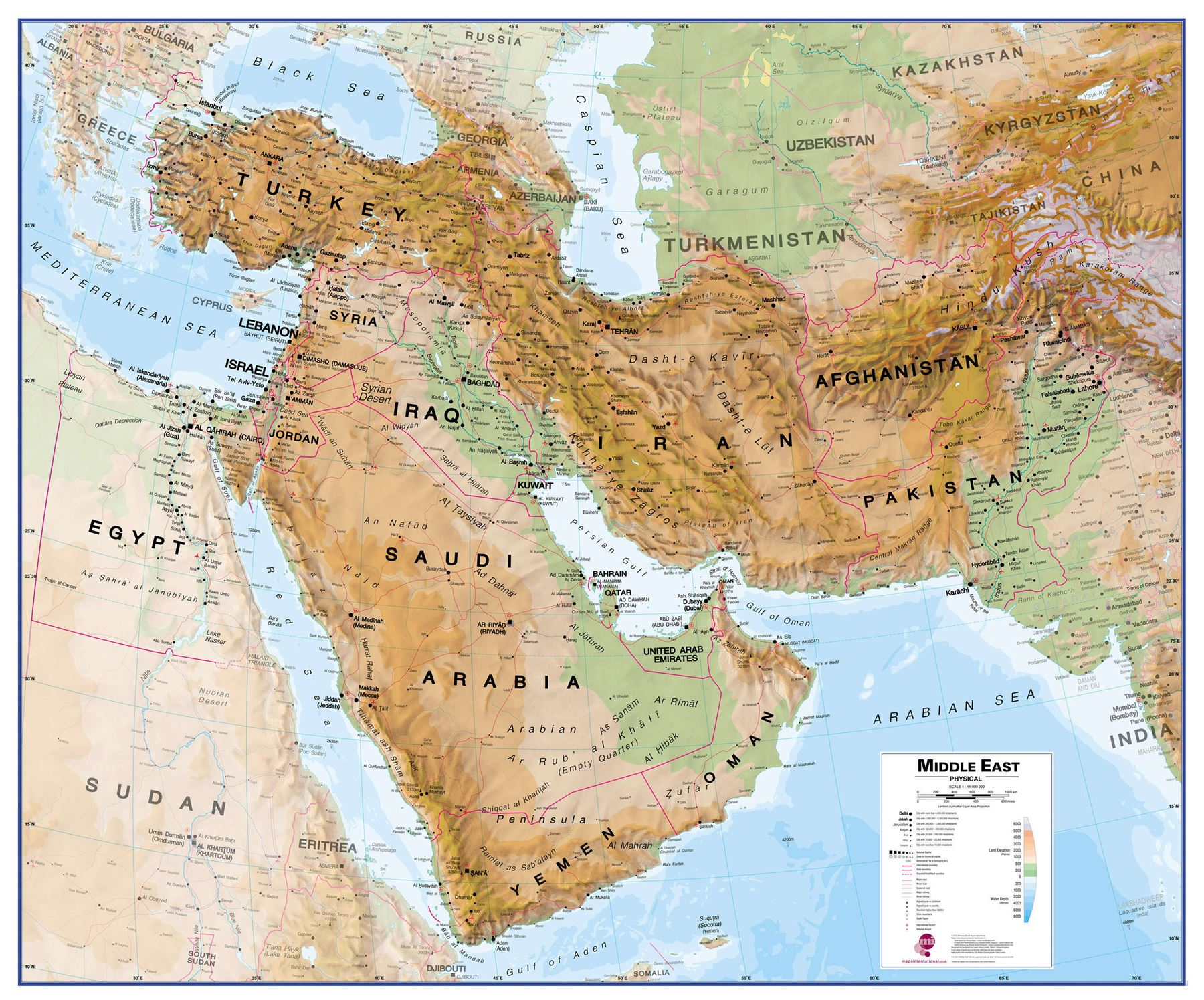middle east physical geographical map rollerblind acrylic