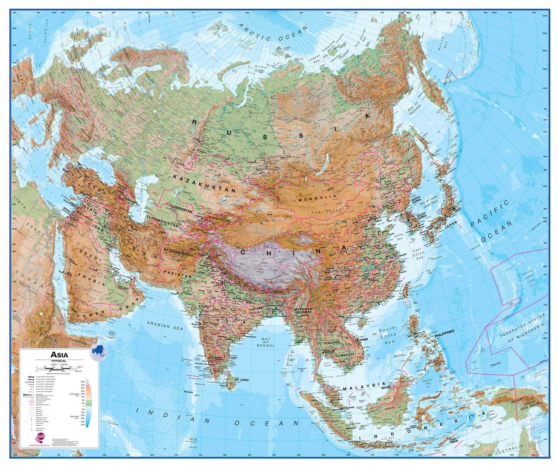 Asia Physical Map Poster Print Art Map Rollerblind Acrylic - Asia physical map
