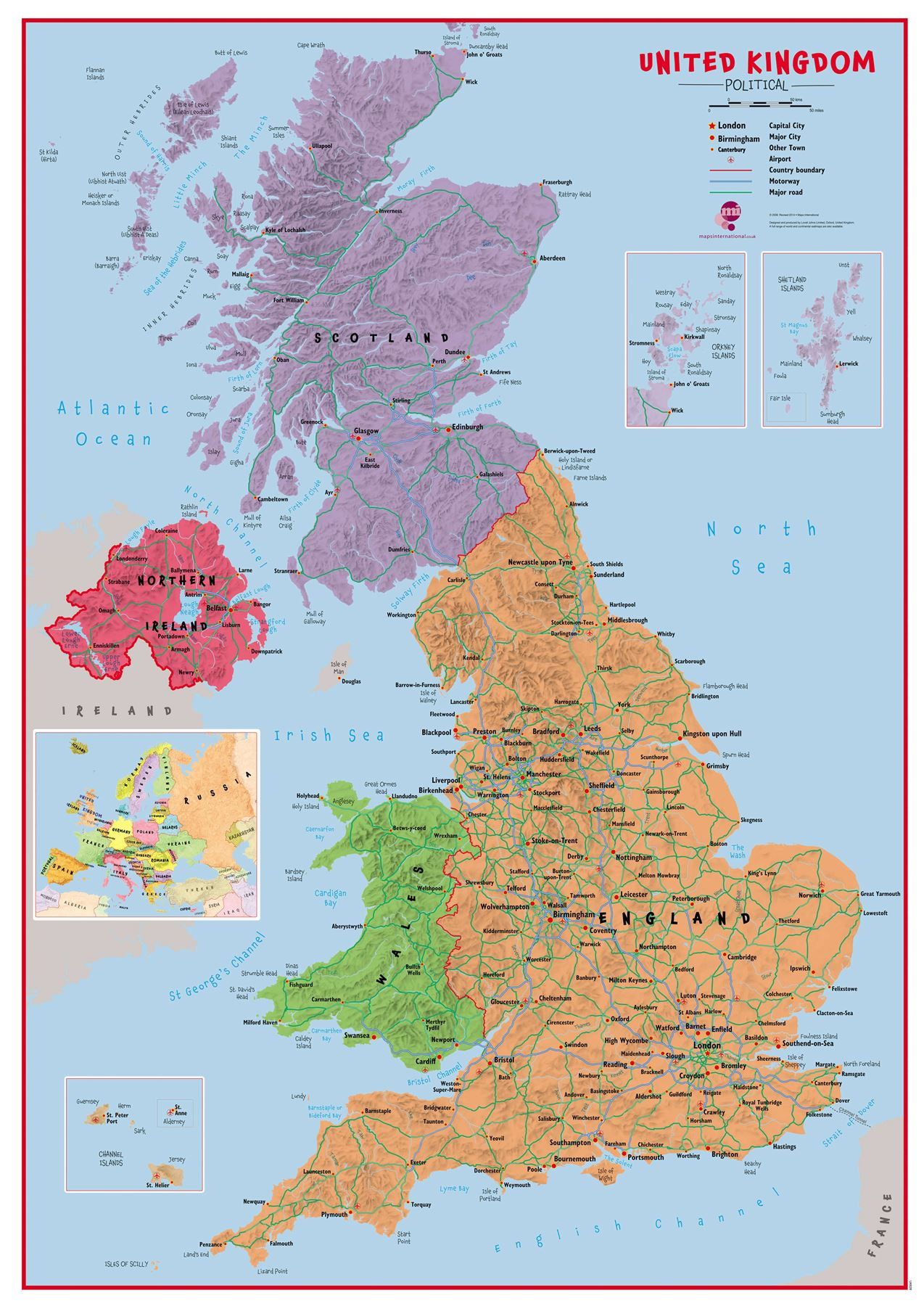 Primary UK Wall Map Political Poster Print Art Map, Choose