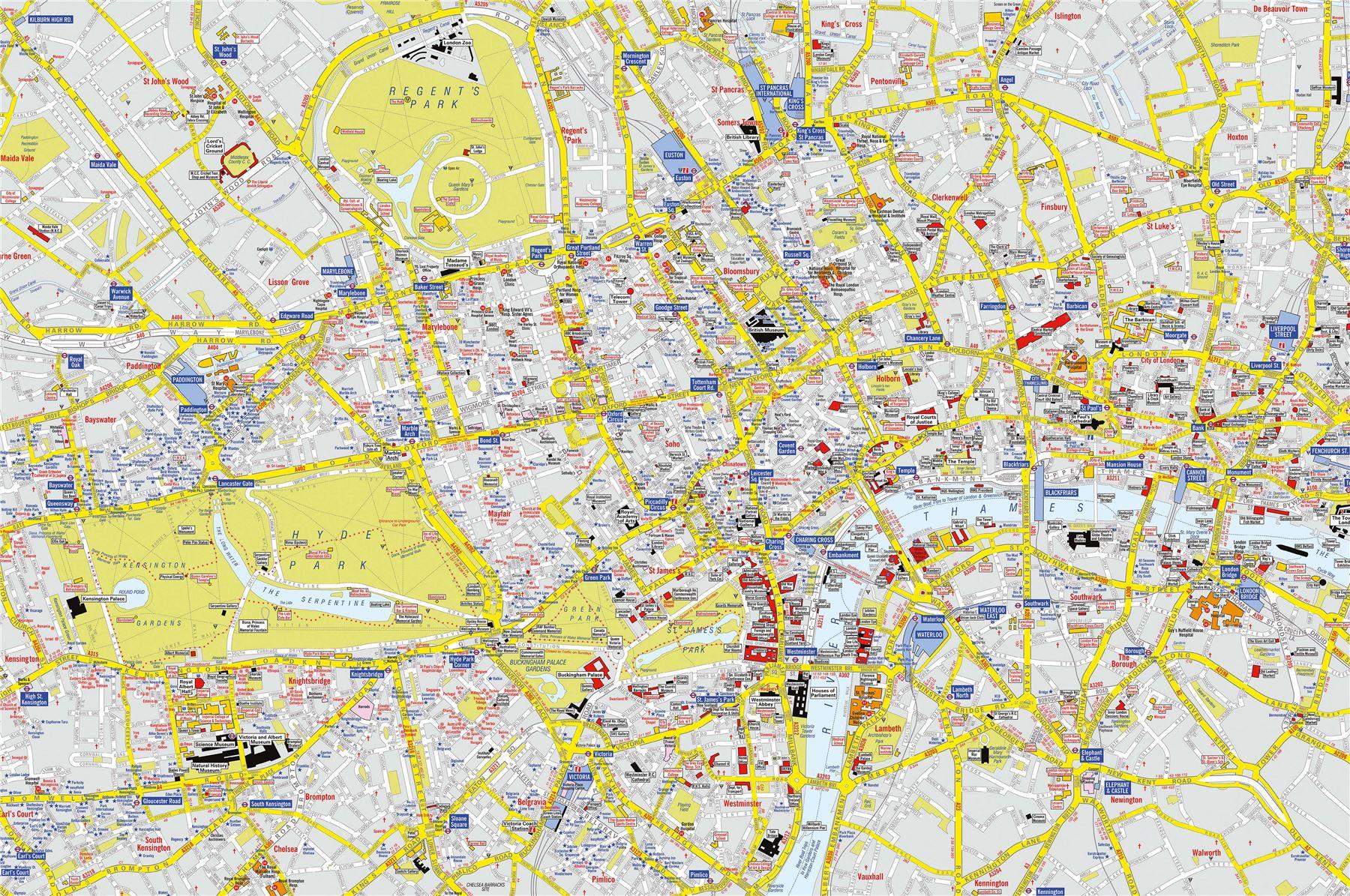 AZ Visitors Map London Poster Print Art Map Size Finish Options