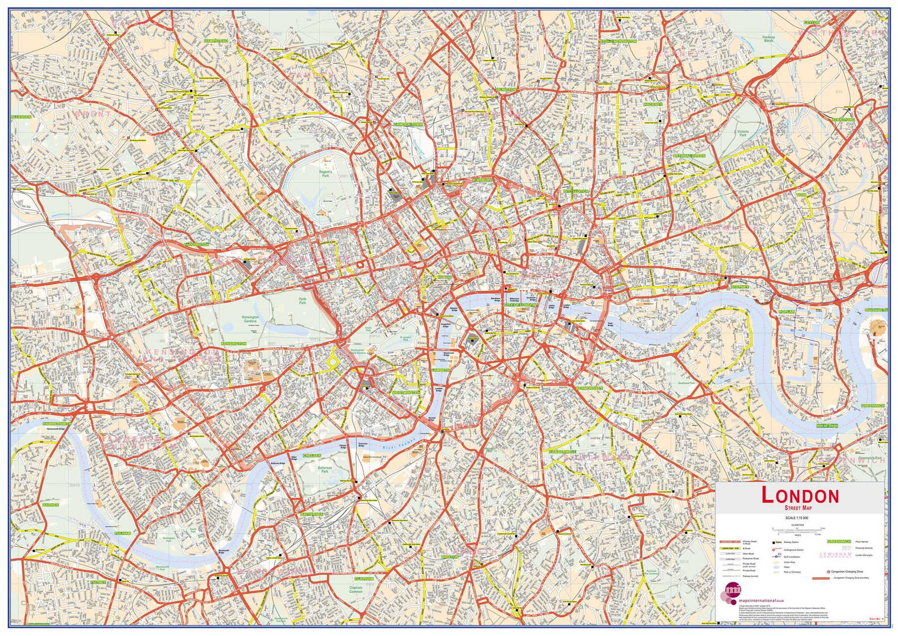 central london street map for office rollerblind acrylic