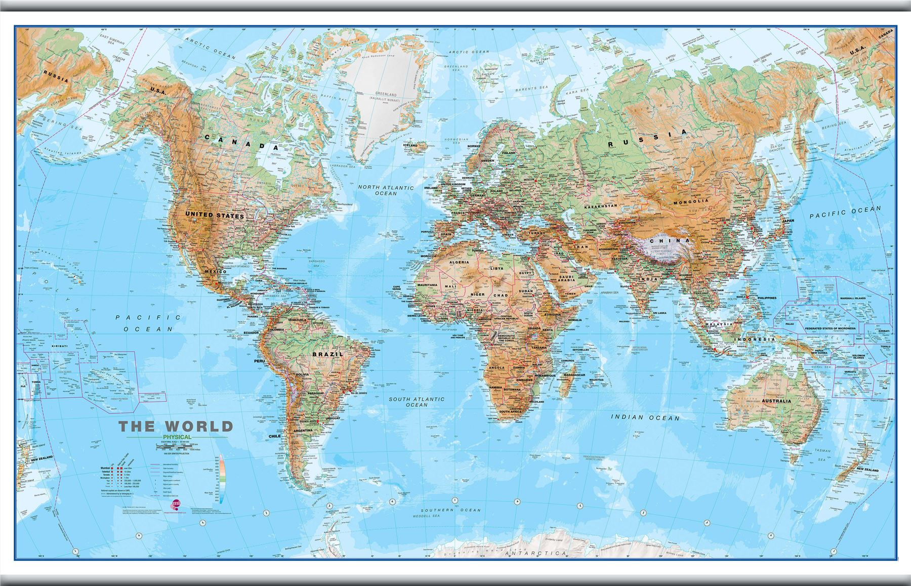 World wall map physical poster print art map size finish options world wall map physical poster print art map gumiabroncs Image collections