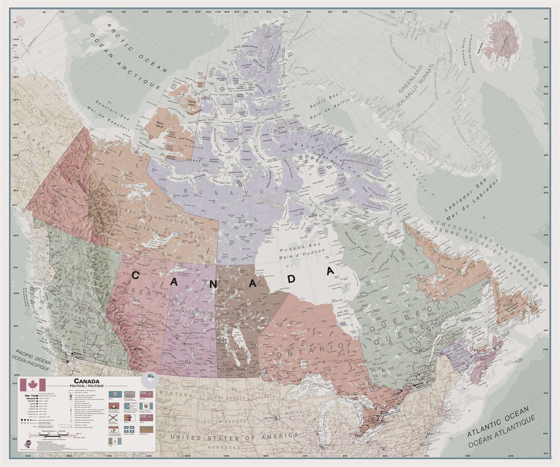 Exekutive Canada Wand Geographische Karte - Rollo, Acryl ...