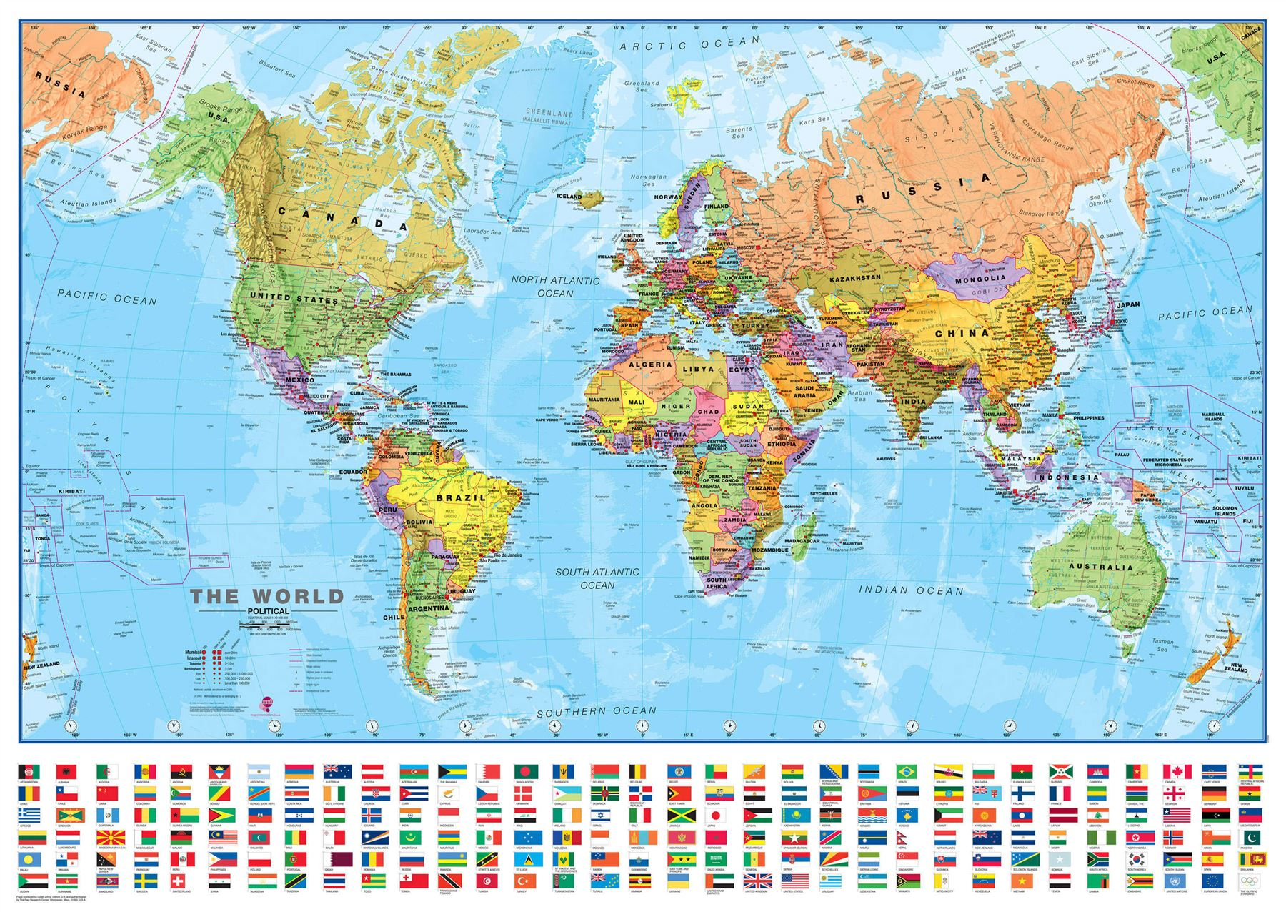 World wall map political poster with flags poster with size finish world wall map political poster with flags poster gumiabroncs Images