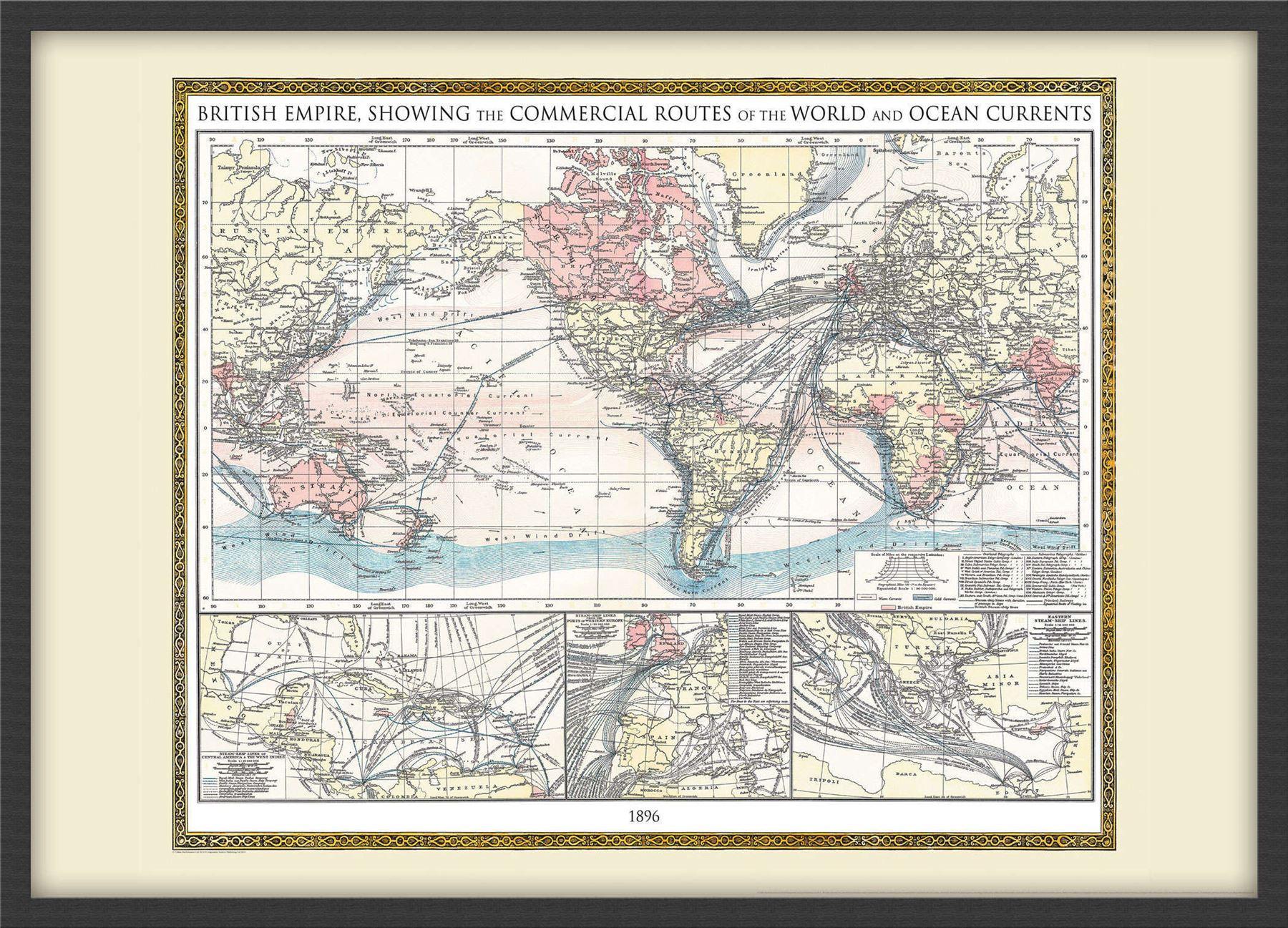 Vintage British Empire Weltkarte 1896 Plakat-Wand-Kunst Größe ...