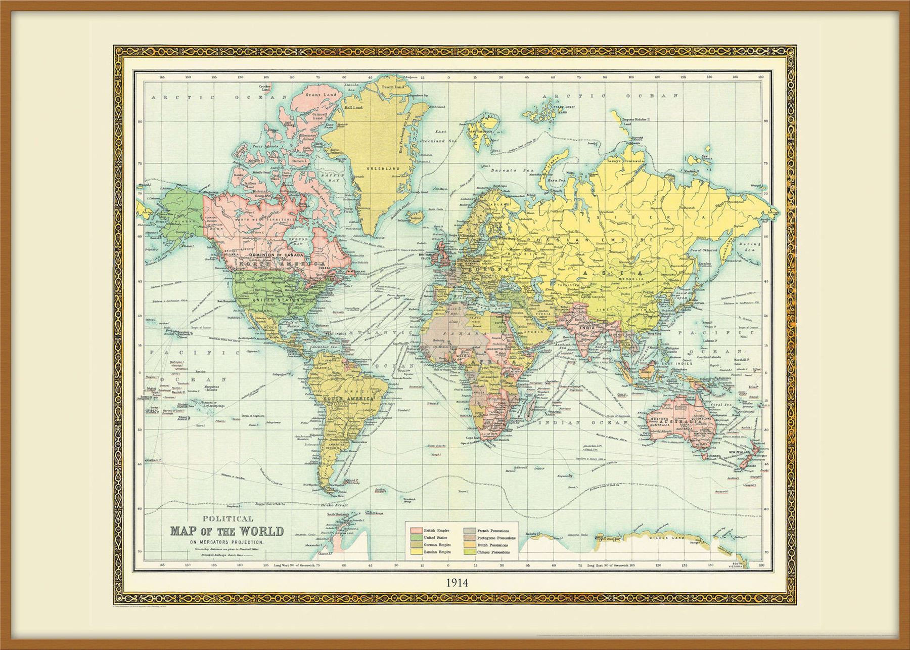 Vintage bartholomew political world map 1914 poster with size vintage bartholomew political world map 1914 poster with gumiabroncs Image collections