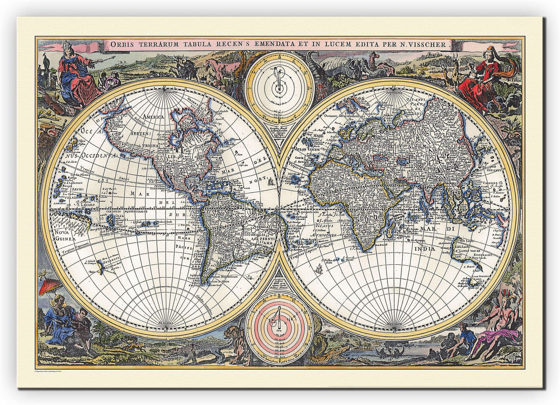 Vintage double hemisphere world map 1700 poster with size finish vintage double hemisphere world map 1700 poster with gumiabroncs Images