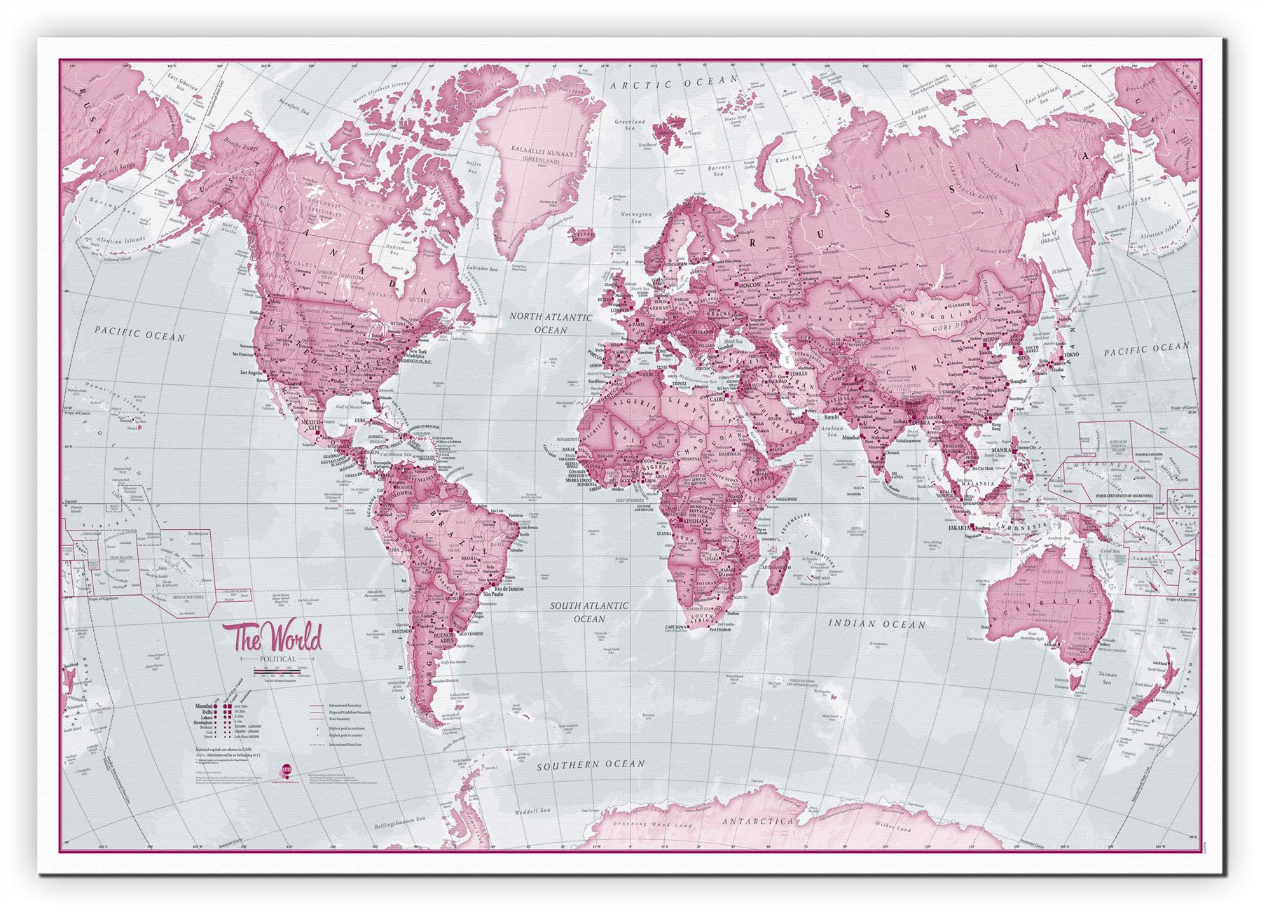 The World Is Art Wall Map Pink Poster For Office With Size Amp - Pink world map poster