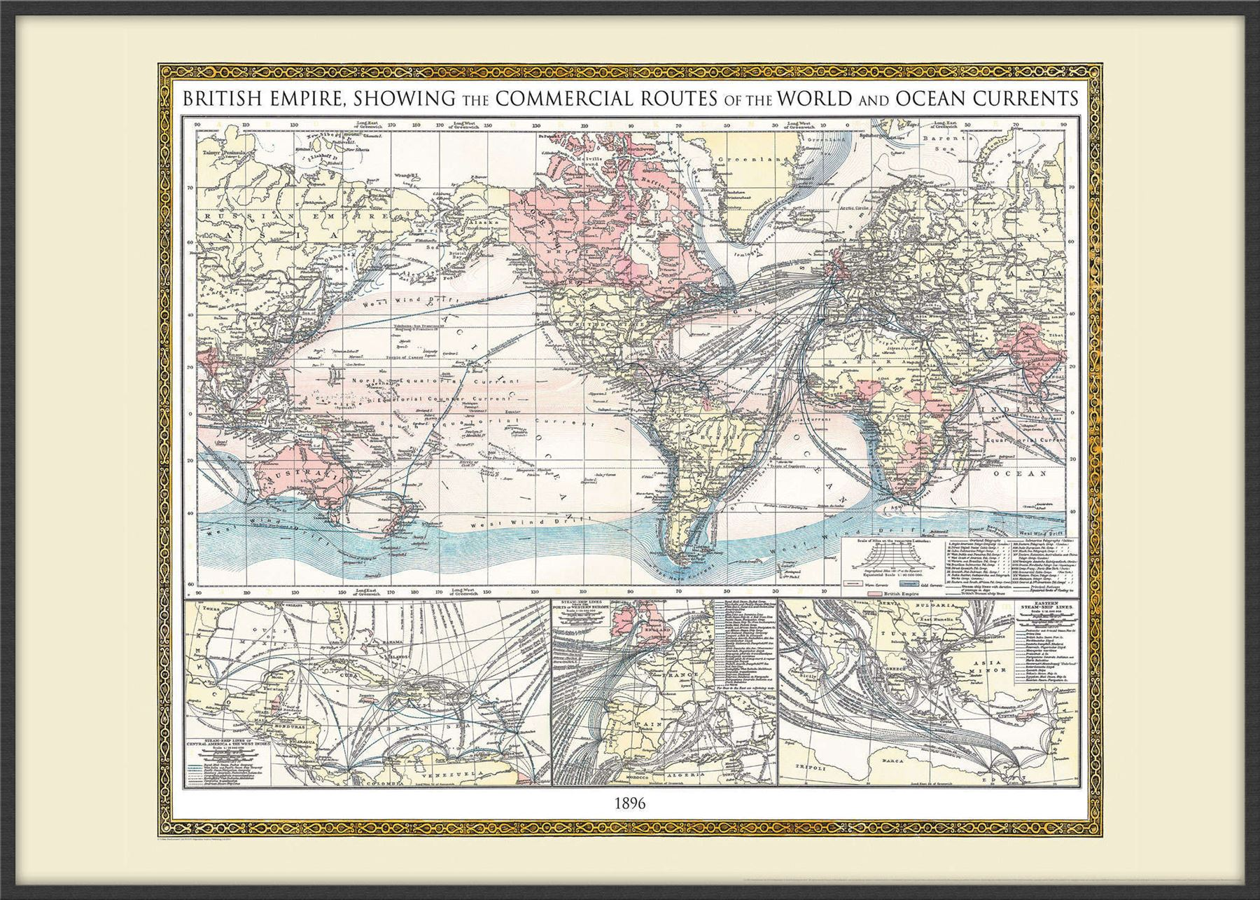 Vintage british empire world map 1896 poster wall art with size vintage british empire world map 1896 poster wall gumiabroncs Image collections