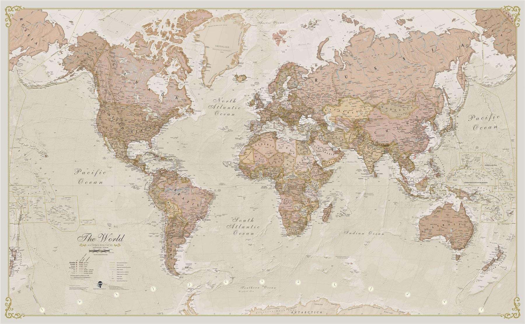 Details about Antique World Map Poster Print Art Map for Office, Choose  Size Finish