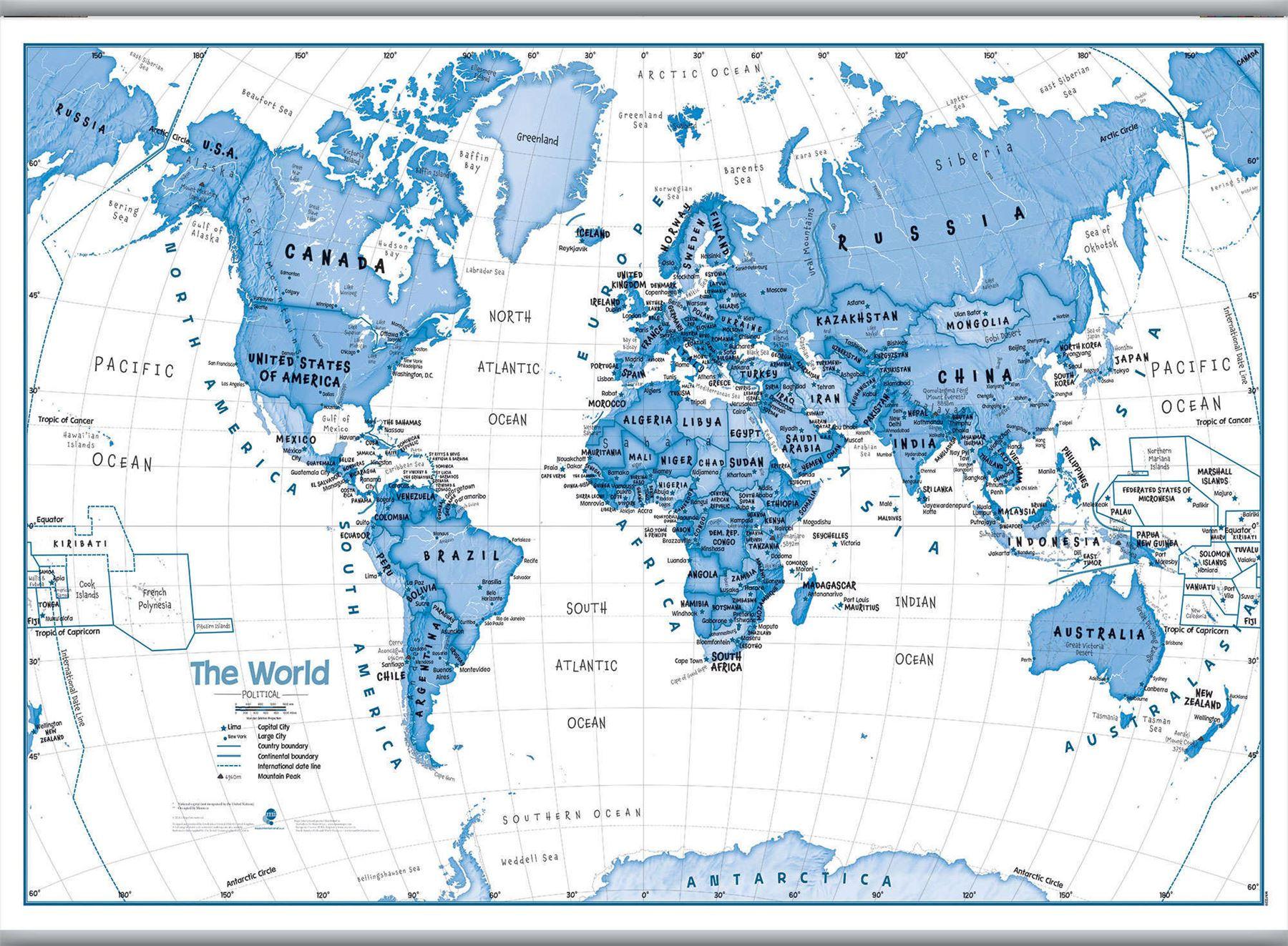 Kunst für Kinder Weltkarte Blau-Plakat-Wand-Kunst mit Größe & Finish ...