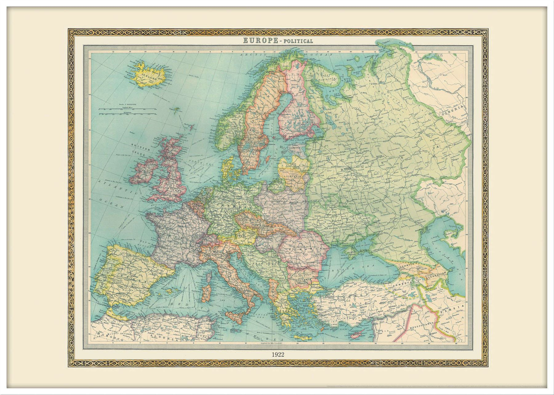 Vintage Political Europe Map Poster For Office With Size - Vintage europe map poster