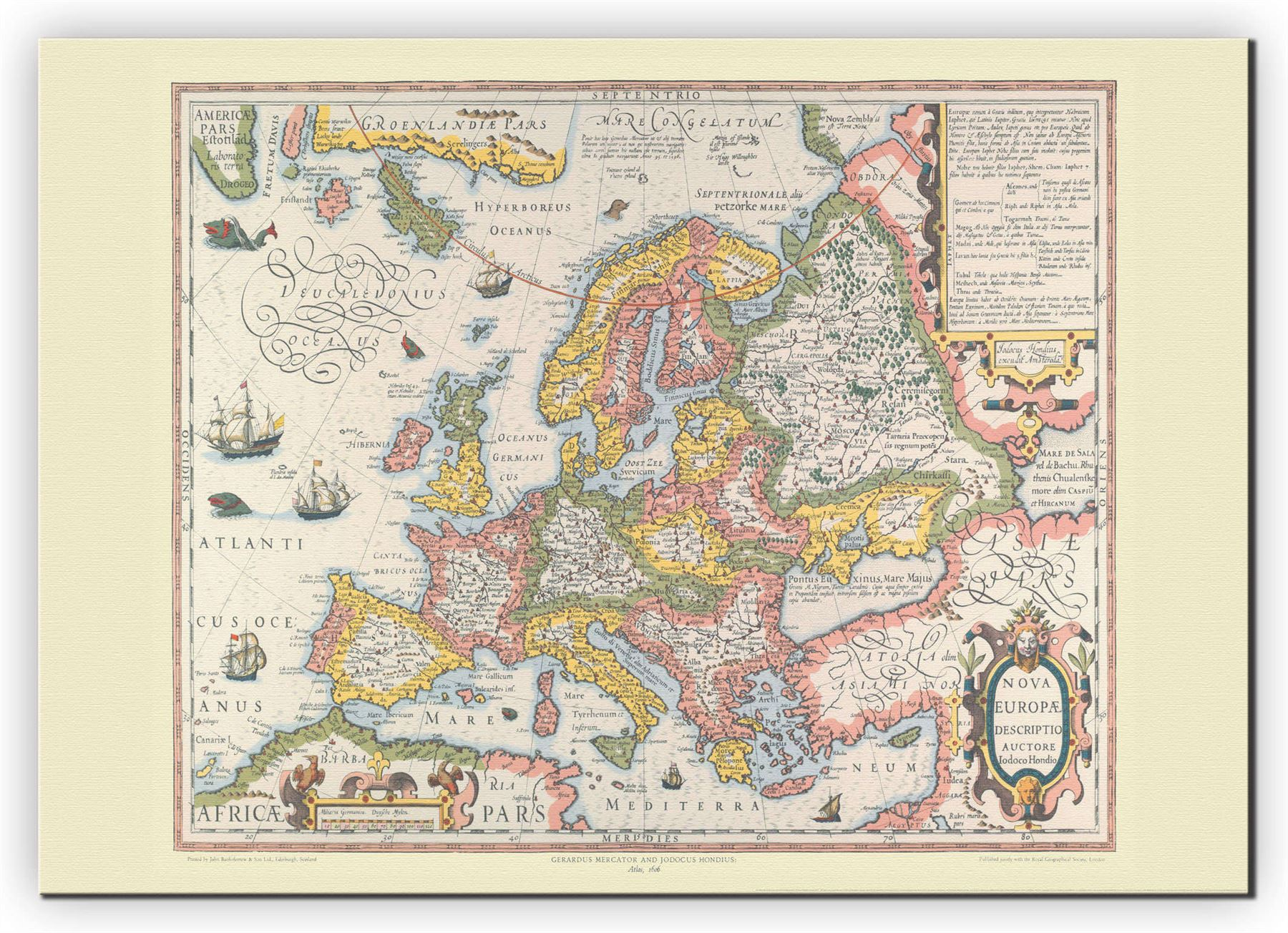 Vintage Gerard Mercator Europe Map Poster With Size Finish - Vintage europe map poster