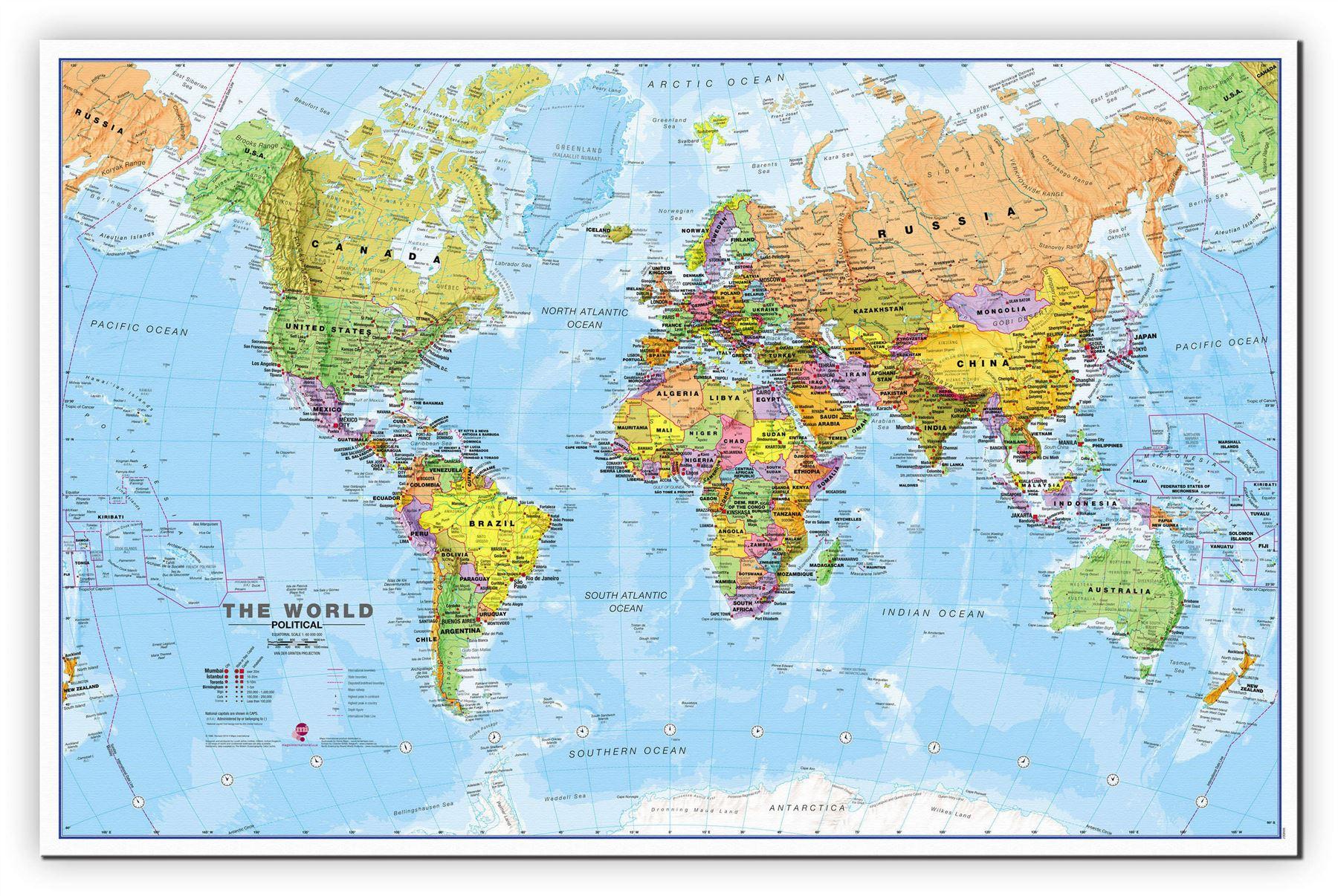 World Wall Map Political Poster Print Art Map Size Finish - Japan map poster