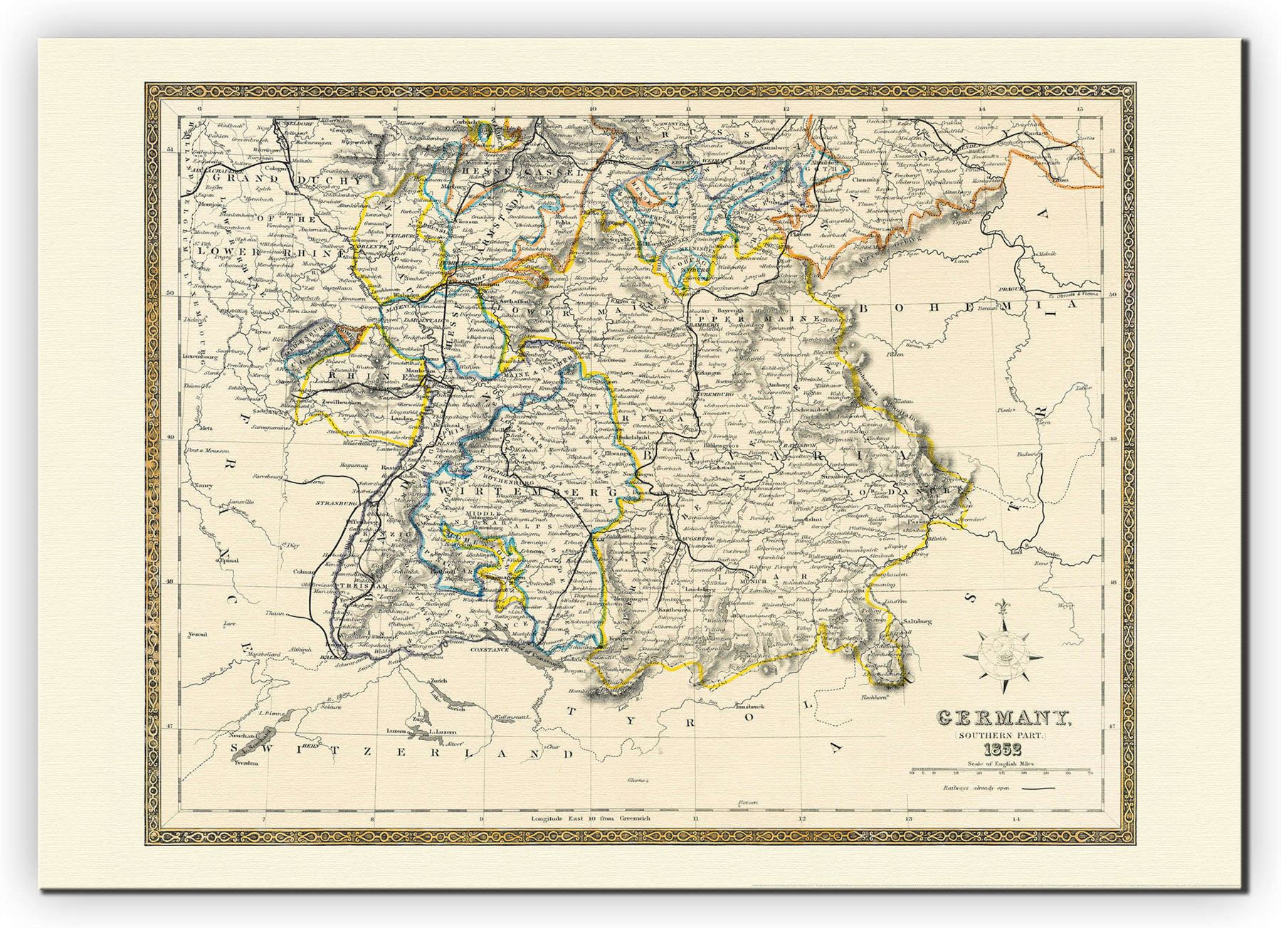 vintage map of southern germany poster for office