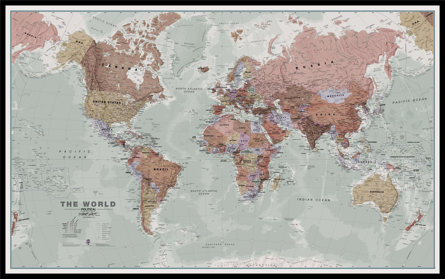 Executive world wall map political poster for office with size executive world wall map political poster for office gumiabroncs Choice Image