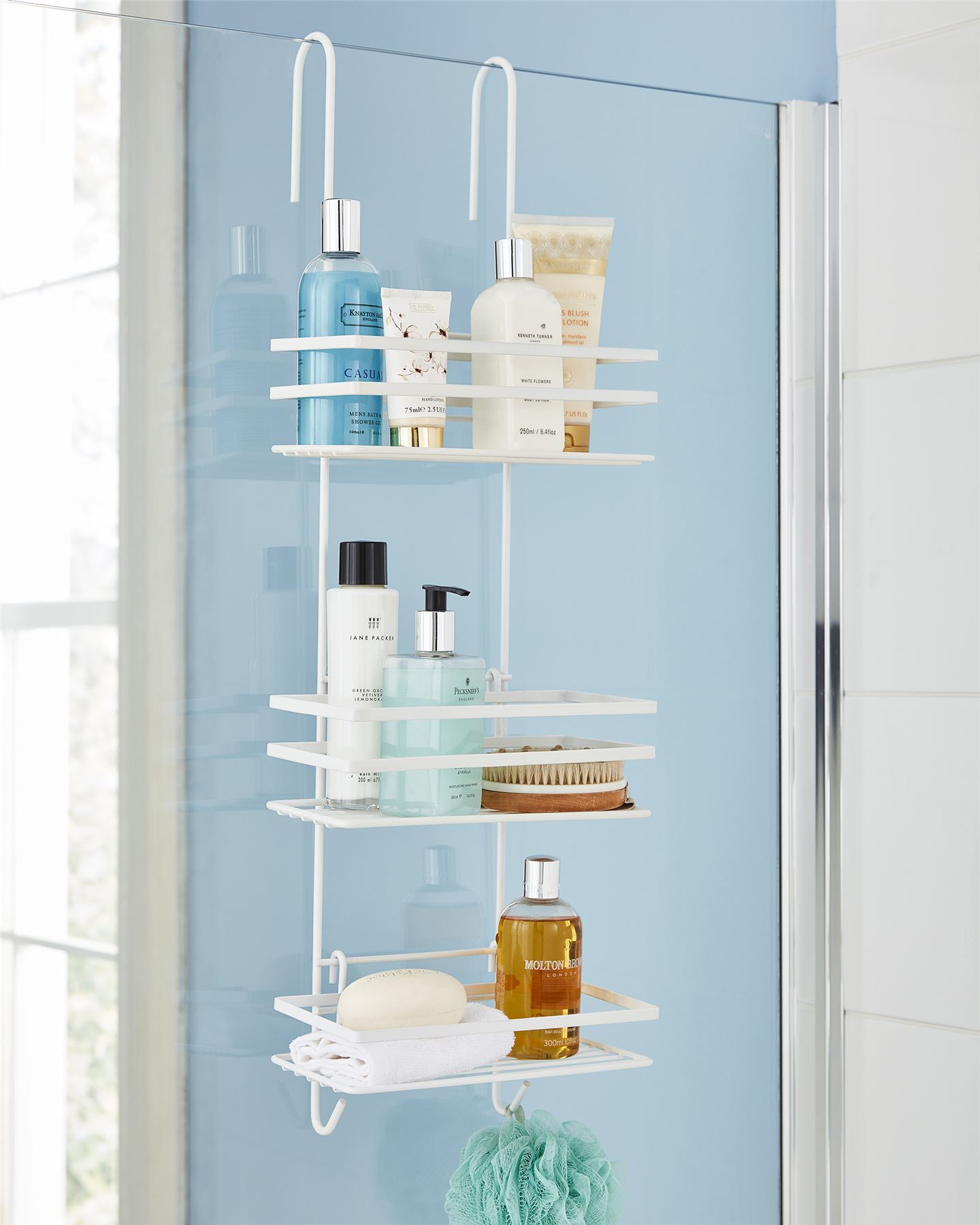3 Tier Non Rust Hanging Shower Caddy Bathroom Organiser in White ...