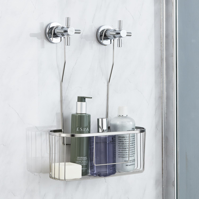 Stainless steel Bathroom Shower Shelf Glass Basket Wall mount Storage Racks New