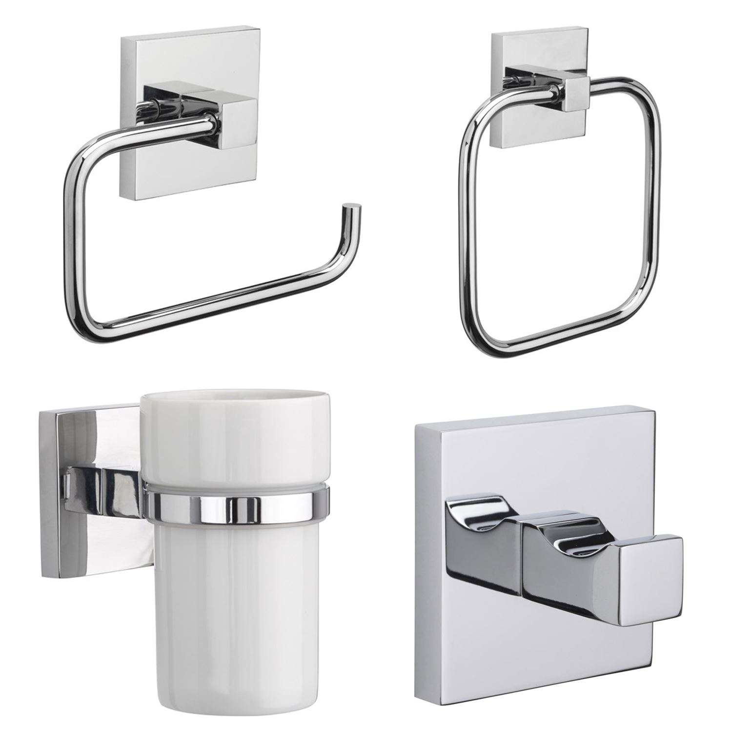 Croydex Brompton Flexi-Fix Chrome Wall Mounted X Plate Bathroom ...