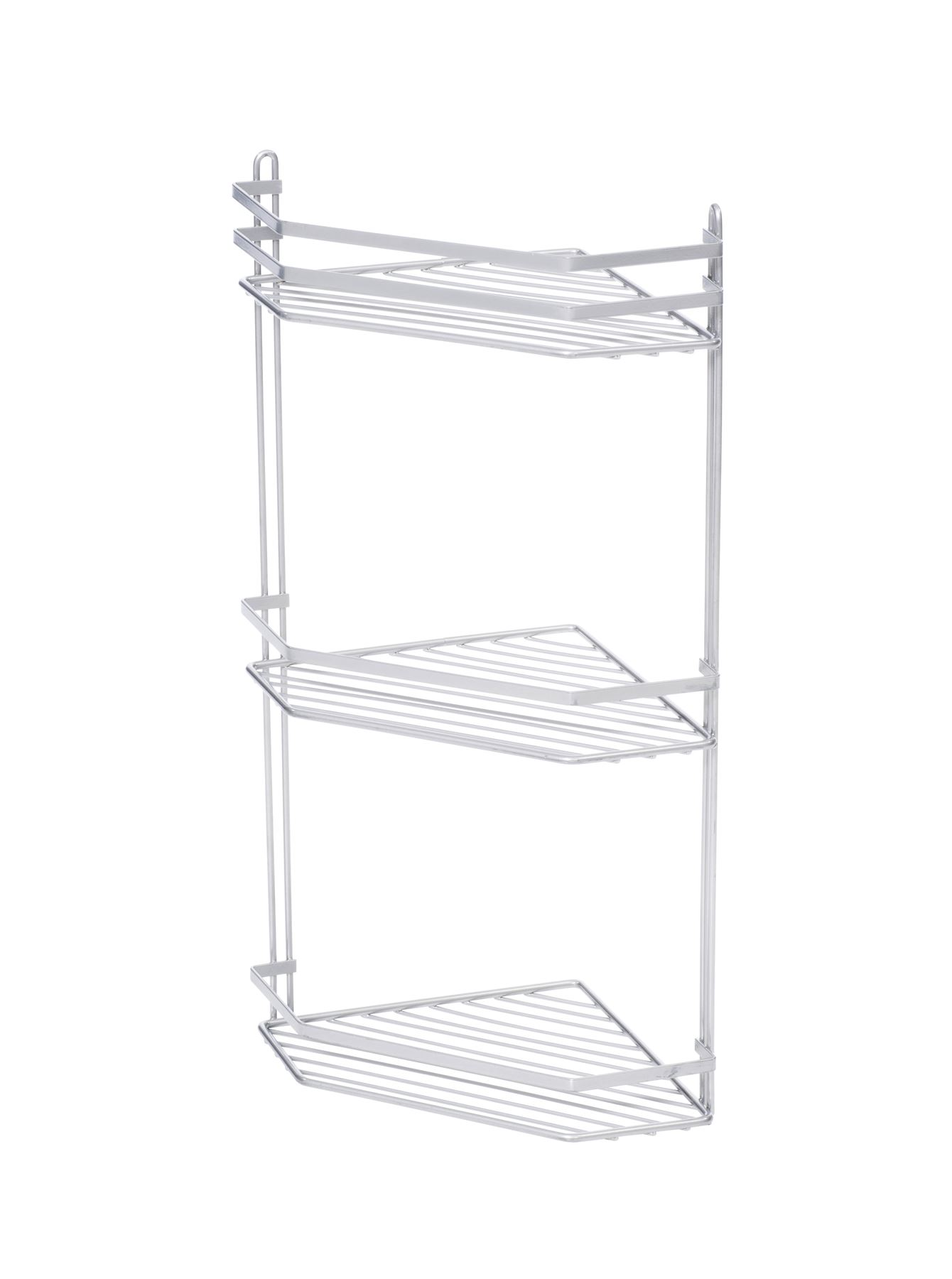 3 Tier Metallic Corner Shower Caddy Bathroom Storage Rack Shelf ...