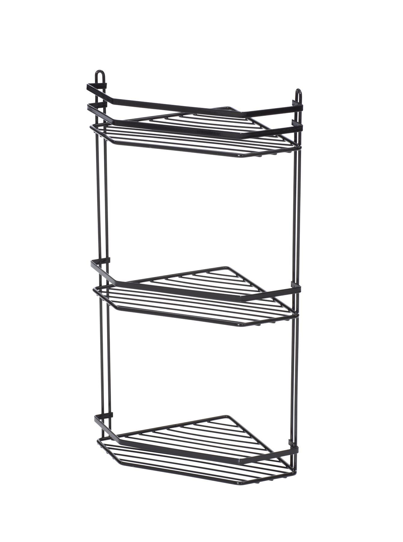 3 Tier Metallic Corner Shower Caddy Bathroom Storage Rack Shelf ...