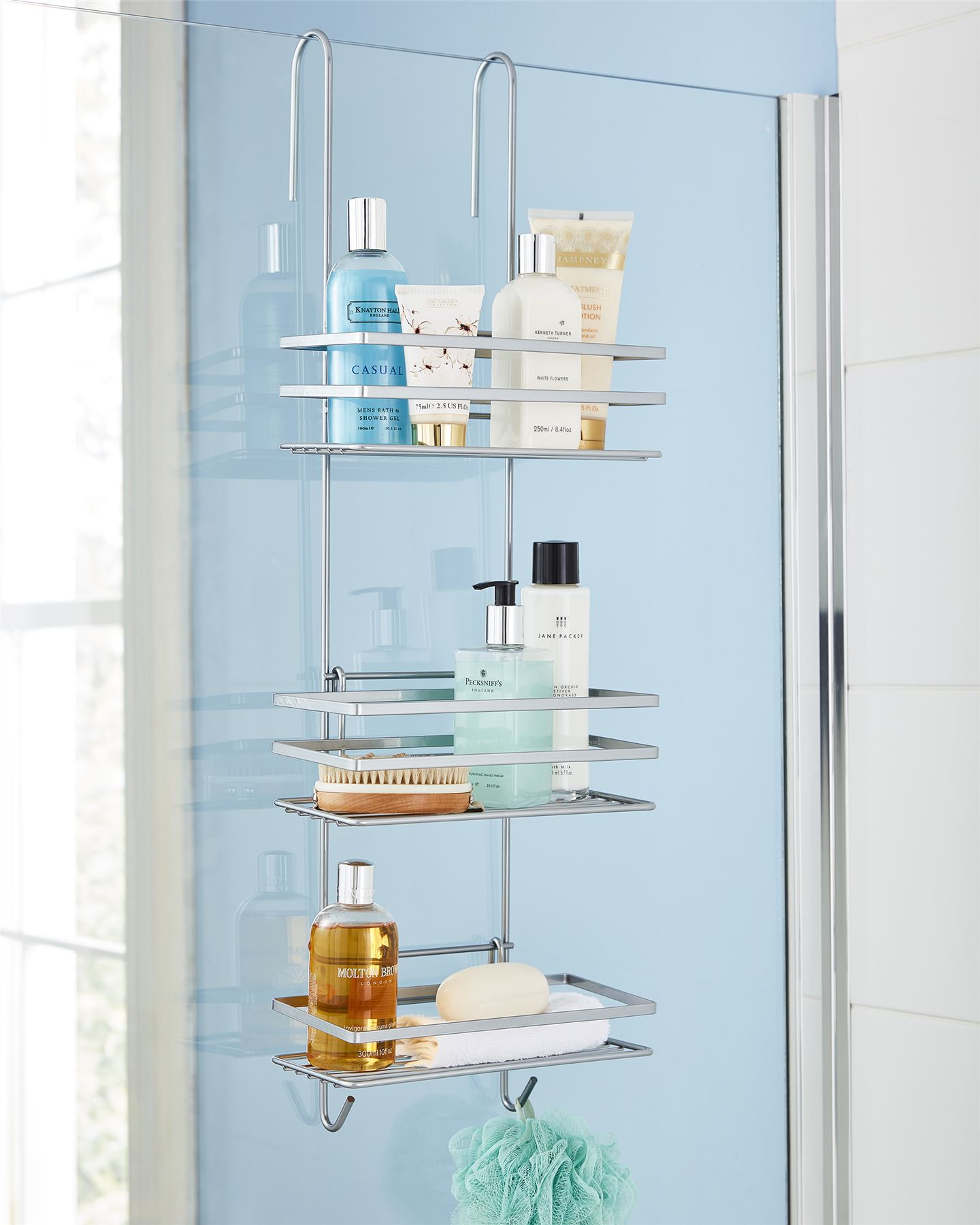 3 Tier Metallic Hanging Shower Caddy Bathroom Storage Shelf ...