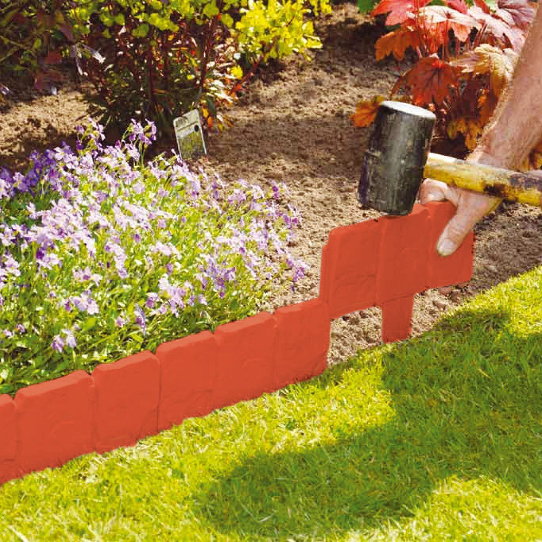 Stone Edger: PLASTIC COBBLED STONE EFFECT LED GARDEN EDGING HAMMER LAWN