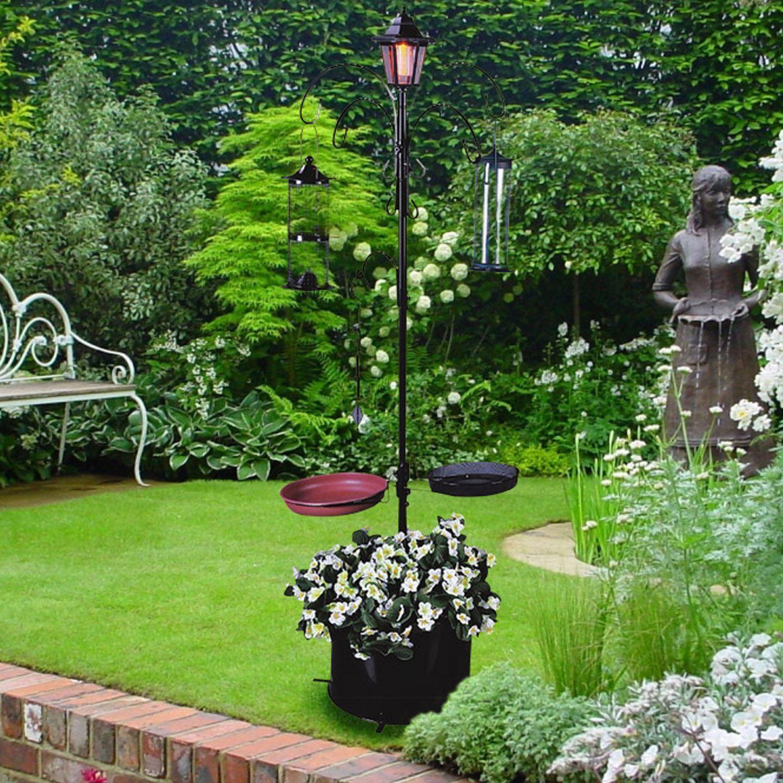 Traditional Garden Solar Bird Bath Feeding Station Food