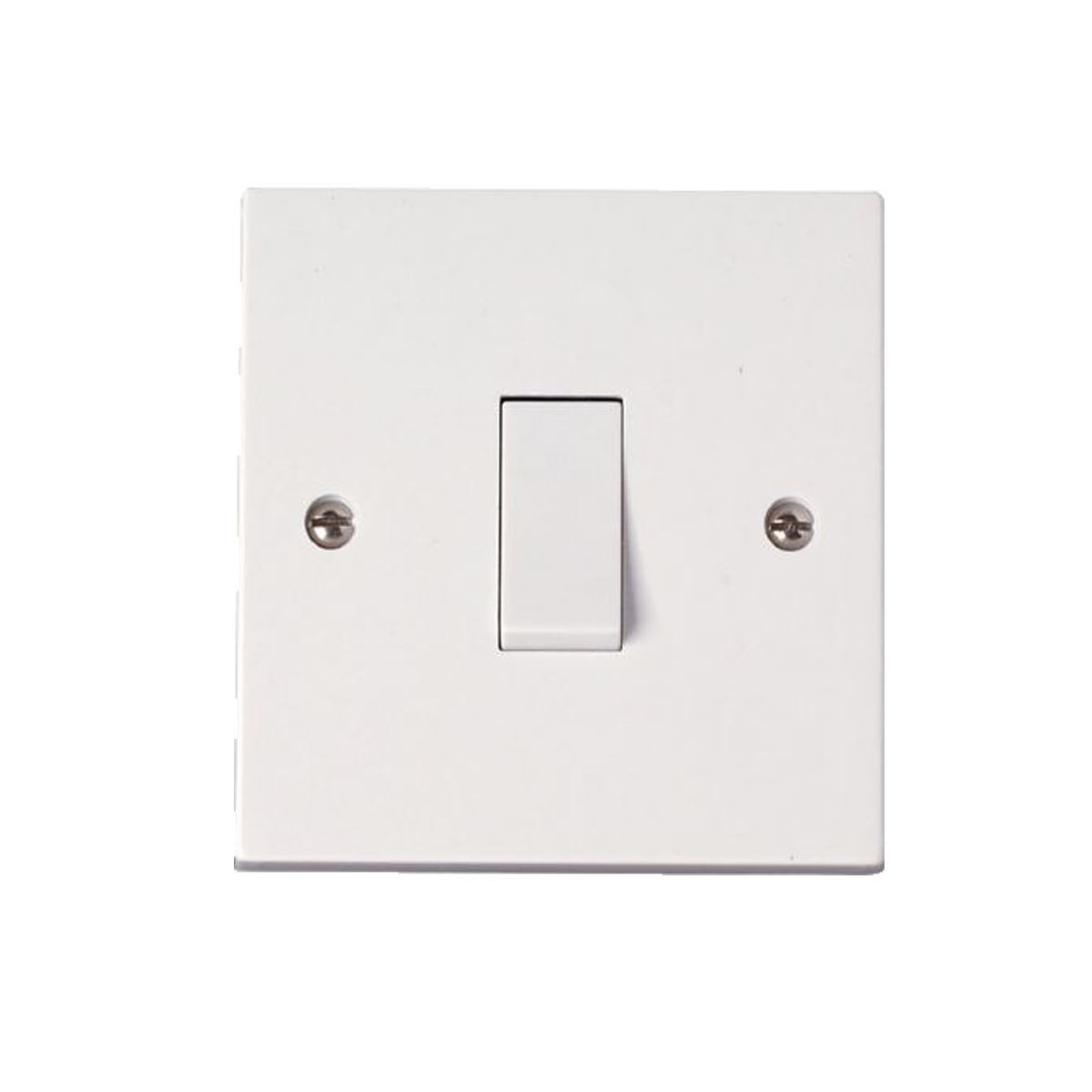 Single White Electrical Plastic Light Switch 1 Gang 1 Way