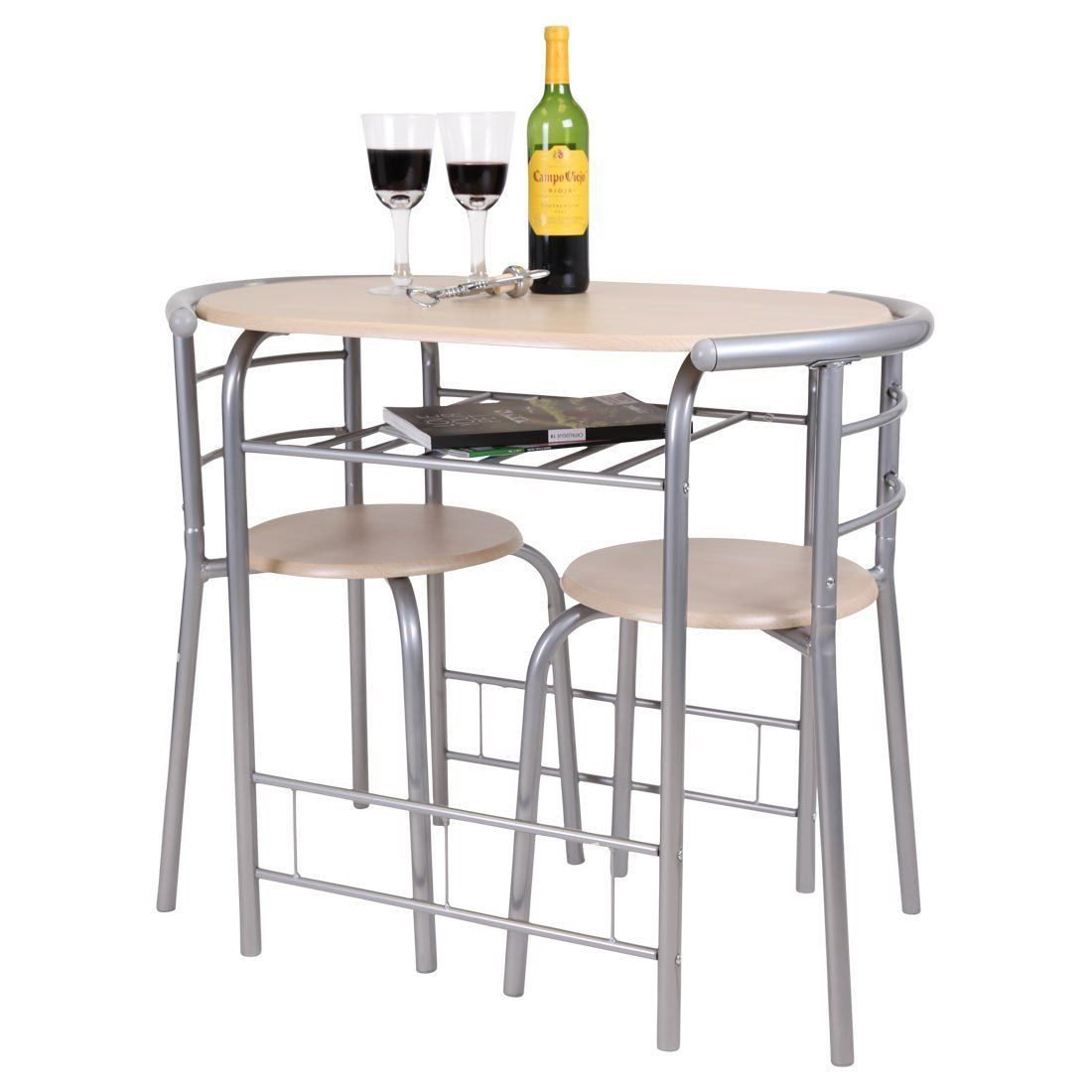 White Bar Table And Stools: Breakfast Bar Table 2 Chairs Stools Set Dining Room