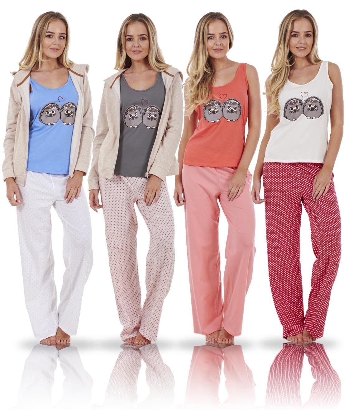 Details about Ladies 3 Piece Pyjama Set Vest Bed Jacket PJ s Hoodie Pajamas  Nightwear 483ea2b39