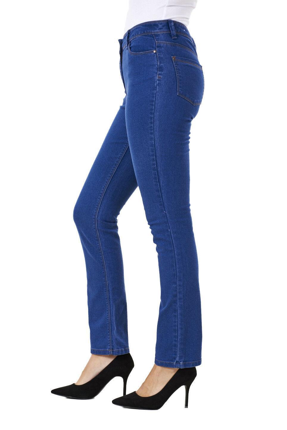 Ladies-Straight-Leg-Denim-Womens-Pants-Stretch-Regular-Fit-Jeans thumbnail 11