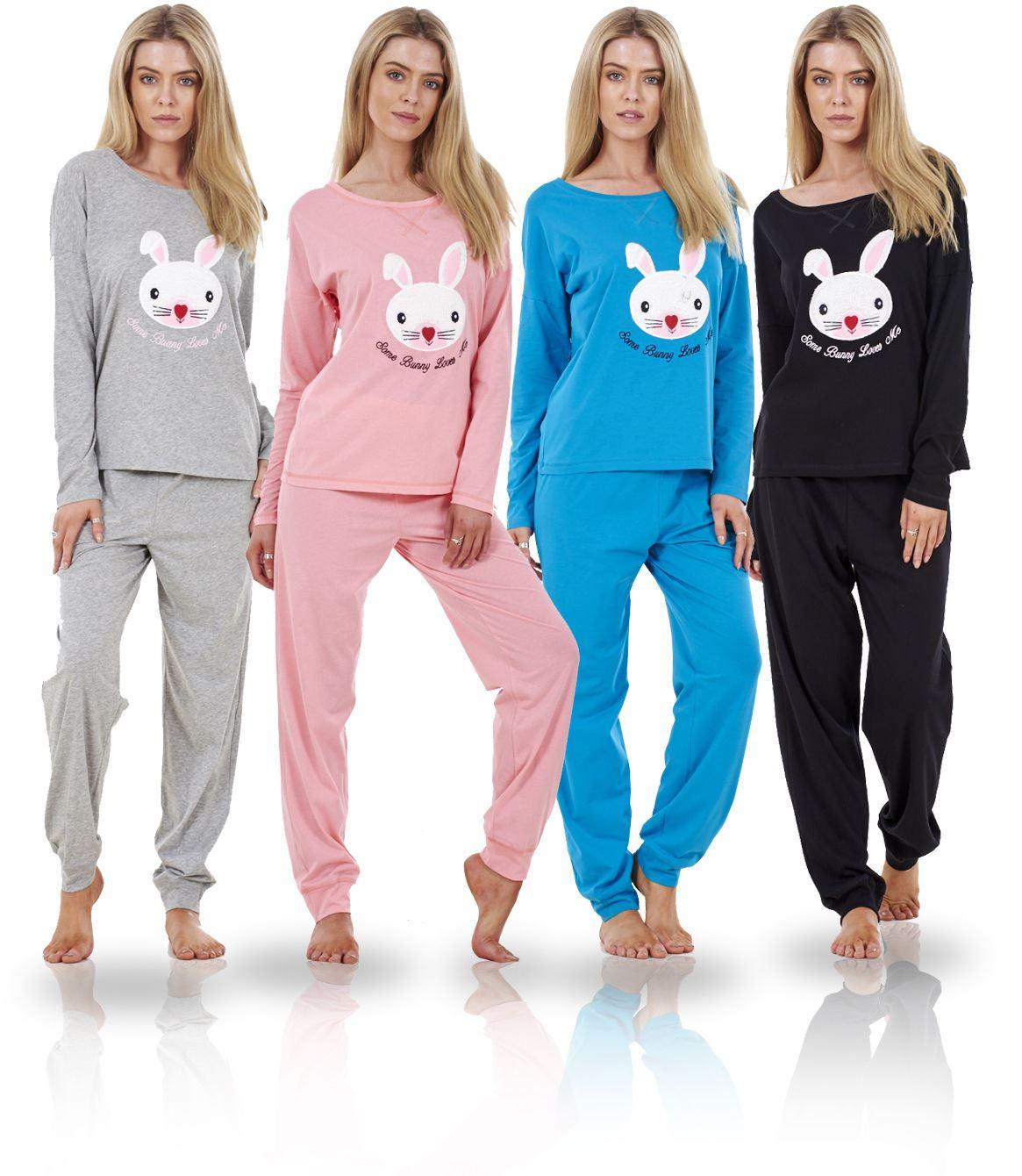 4c871d16d8 Sentinel Ladies Long Sleeve Pyjama Set Womens Cotton Animal Print PJ S  Nightwear