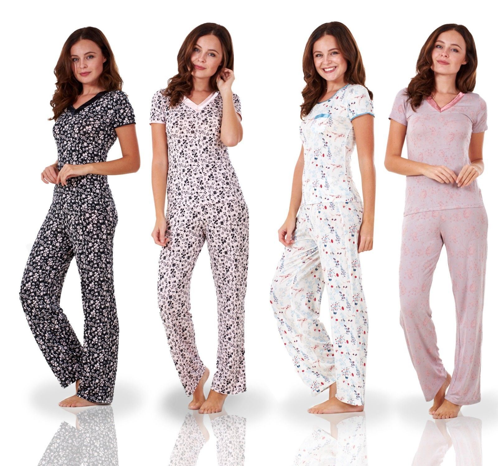 Sentinel Ladies Short Sleeve Floral Print PJ Set Stretch Nightwear Womens  Pyjamas 29f06cd6e