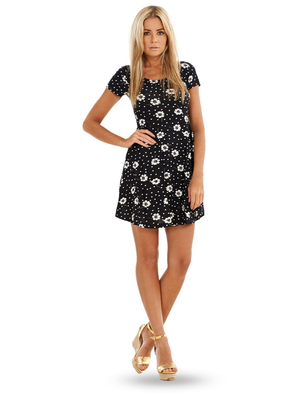 740ba785249e Sentinel Ladies Summer Floral Dress Womens Black White Mini Short Sleeve  Tunic Skater
