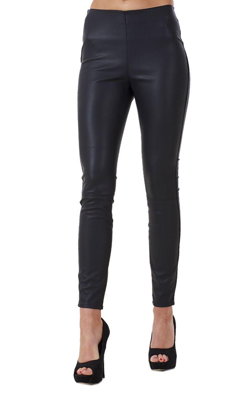 f4c7872b388ff Sentinel Ladies Black Slim Fit Pu Leggings Skinny Womens Leather Look  Stretch Jeggings