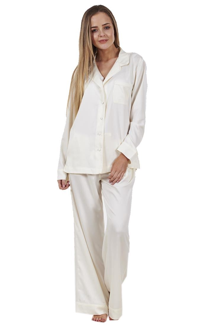 1909987052 Ladies Glamorous Satin Pyjamas Long Sleeve Nightwear Silk PJ S ...