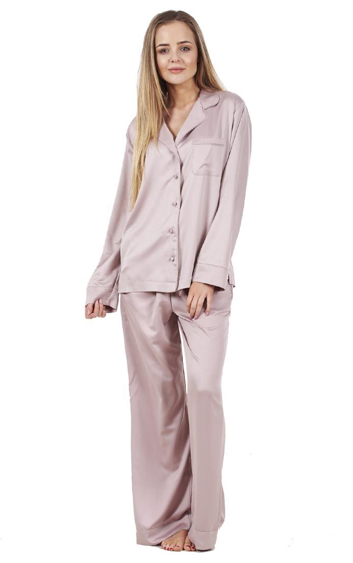 510312b98f Sentinel Ladies Glamorous Satin Pyjamas Long Sleeve Nightwear Silk PJ S  Nightwear
