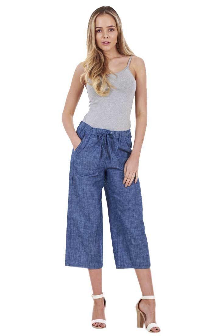 Ladies Cropped Linen Trousers Elasticated Summer Blue Pants 3//4 Cotton Crops
