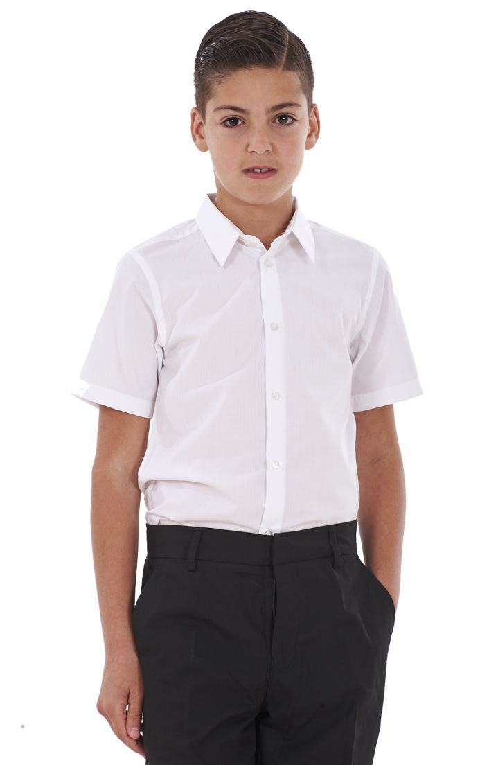 ex BHS Ages 4-16 Boys Short Sleeved School Shirt Slim//Regular//Generous Fit Non Iron Easy Care Twin-Pack