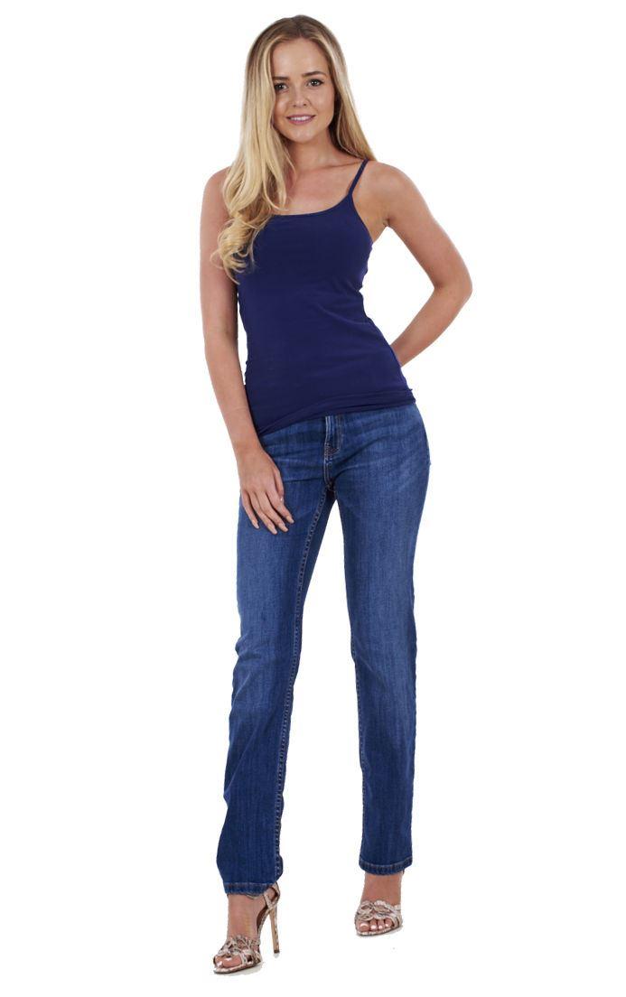 Ladies Straight Leg Jeans Womens Regular Fit Blue Cotton Denim Plus Size Pants