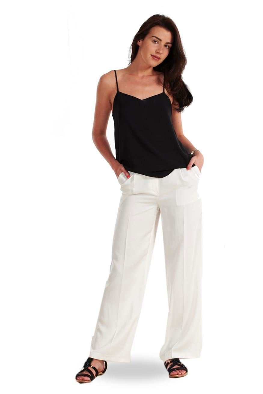 19a28c51f0b1c Sentinel Ladies White Linen Trousers Womens Summer Ivory Holiday Summer  Pants