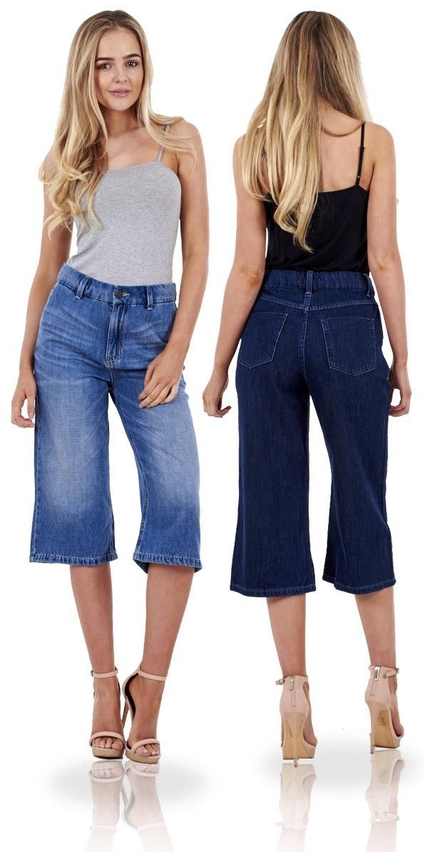 Ex Famous Store Ladies Denim Cropped Jeans 100/% Cotton Trousers Womens 3//4 Crops Pants