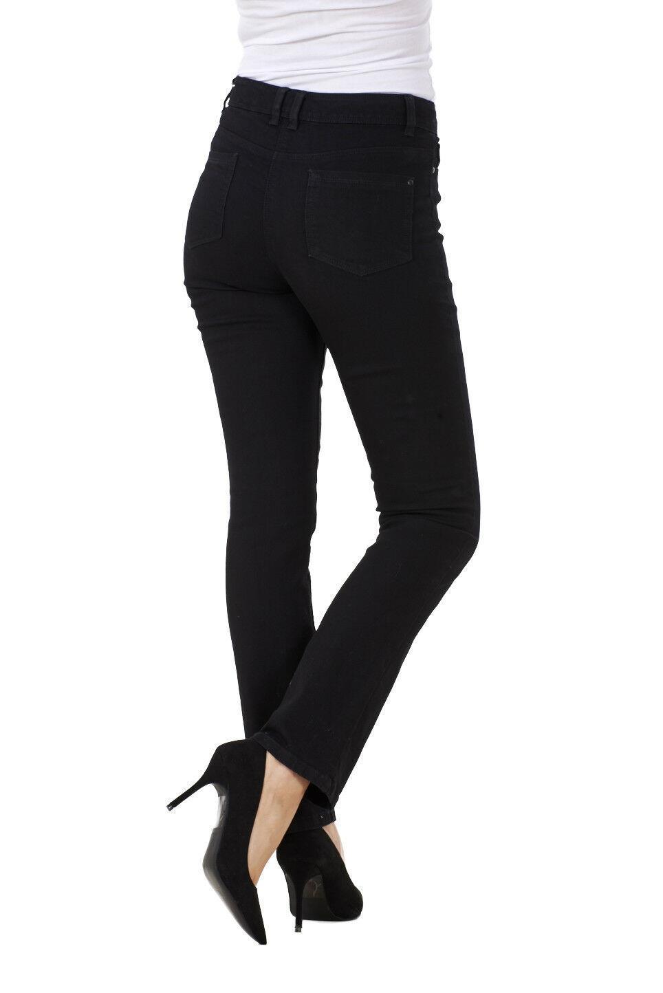 Ladies-Straight-Leg-Denim-Womens-Pants-Stretch-Regular-Fit-Jeans thumbnail 7