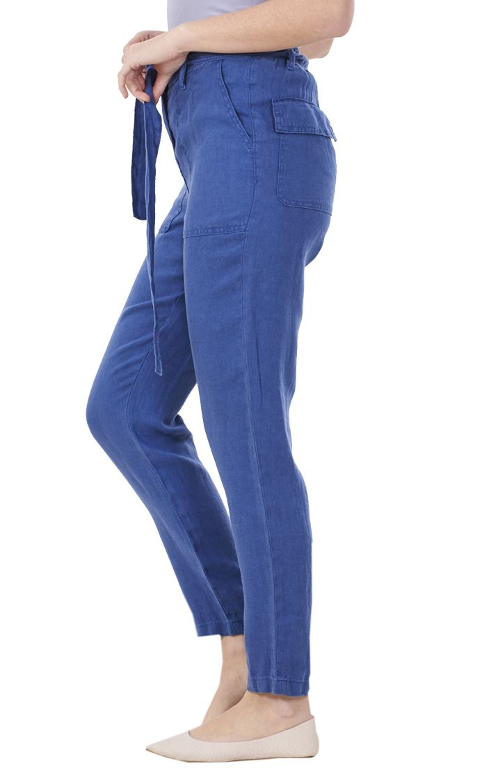 Ladies Linen Trousers Belt Holiday Womens Pants Elasticated Summer Casual Pants