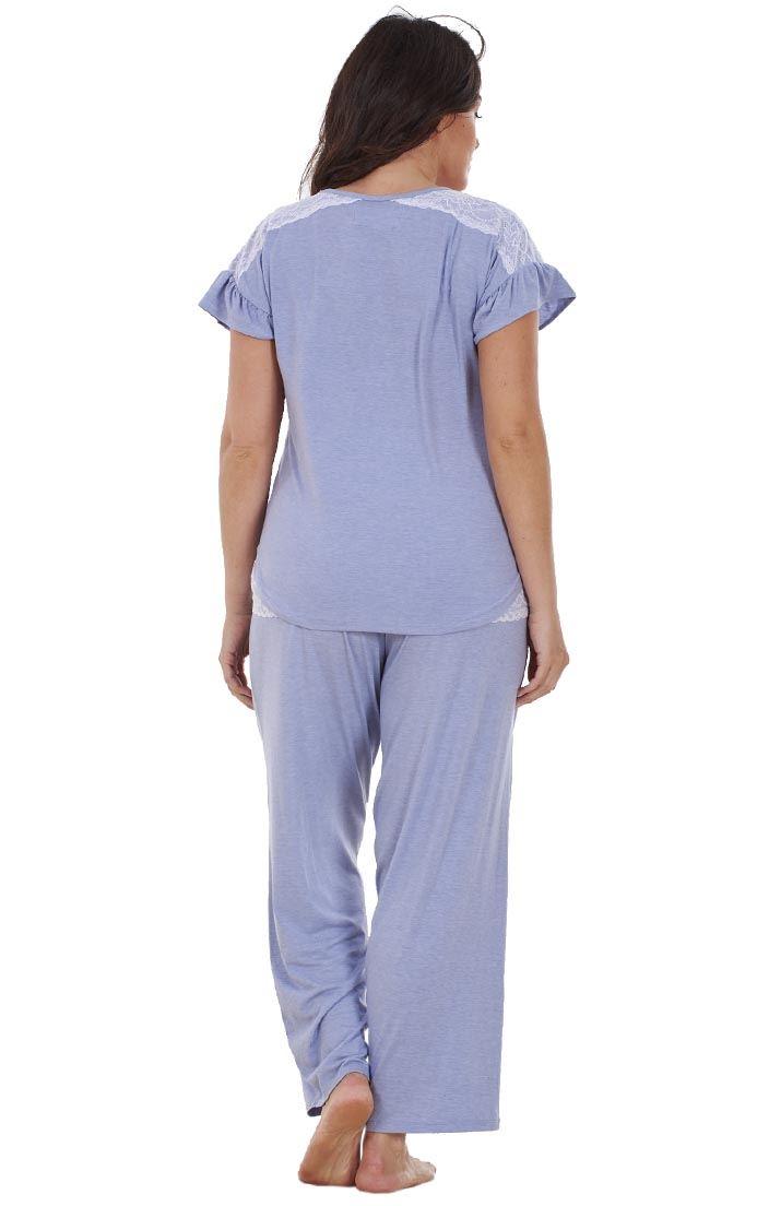 f70fd8f0b4f Sentinel Ladies Plus Size Floral Print Lace Curve PJ Set Short Sleeve  Pyjamas