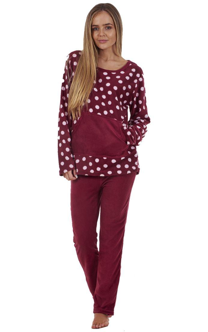 6028c1c25787 Ladies Stunning Printed Fleece Pyjama Set Womens PJ s Winter Warm ...